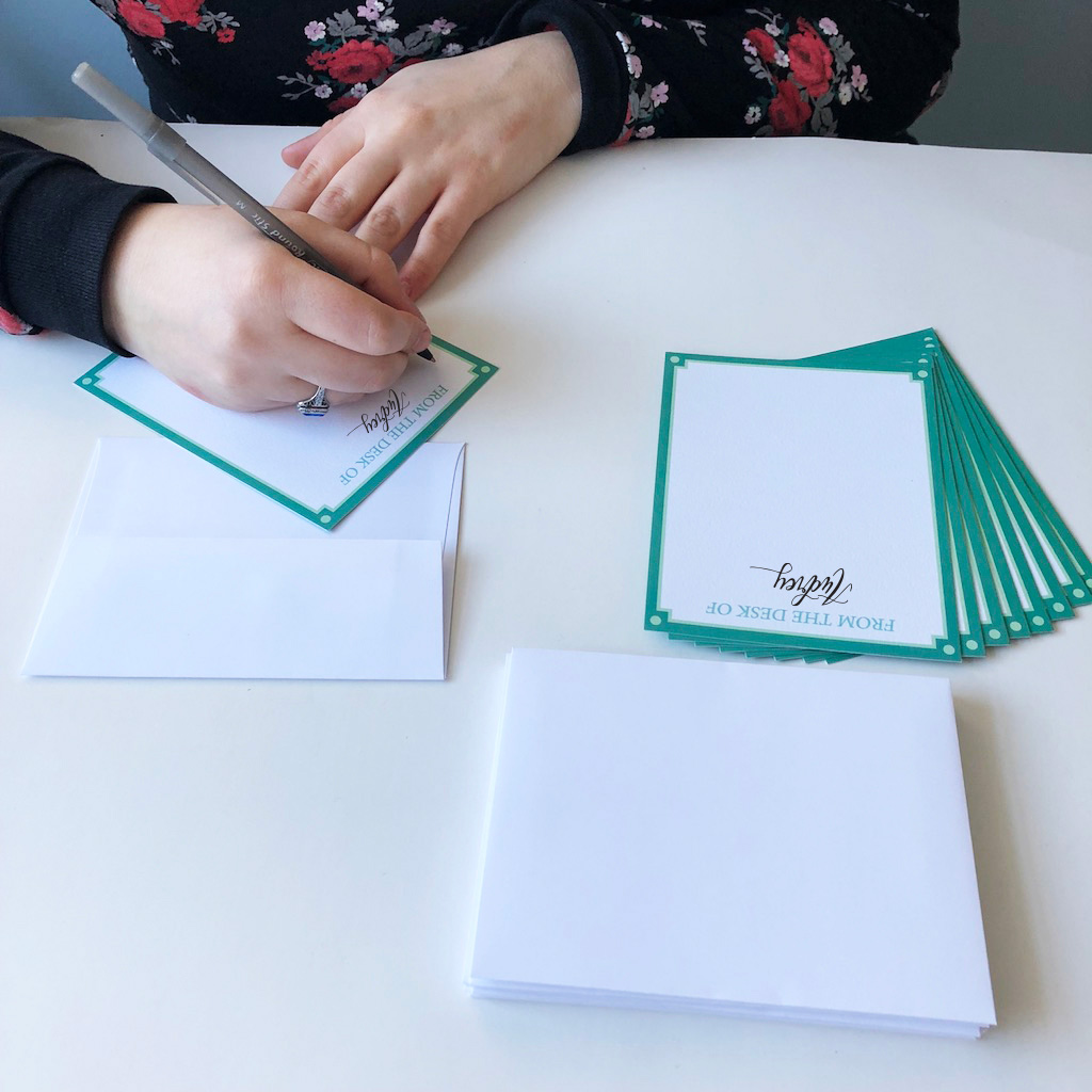 From the Desk of... Personalized Stationery    Have your mom's first name handlettered on 10 notecards (envelopes are included).  $22