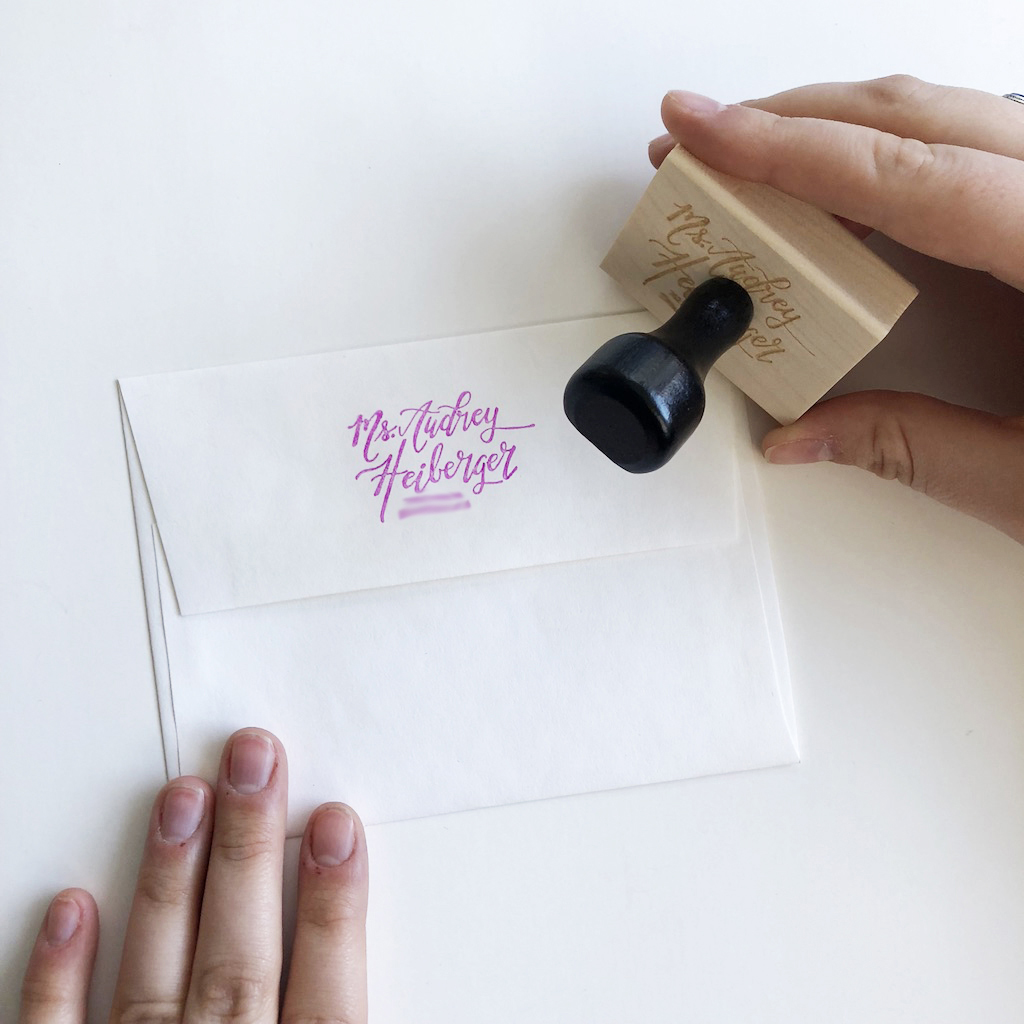 Custom Return Address Stamp    Have your mom add some flair to her envelopes. Name is handlettered.  $35