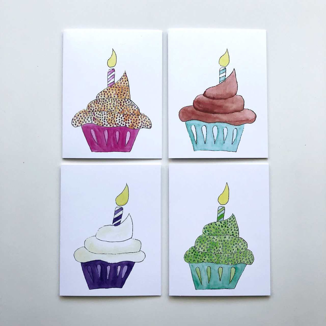 Cupcake Birthday Greeting Card Set of 8     This set is a big hit!    $16