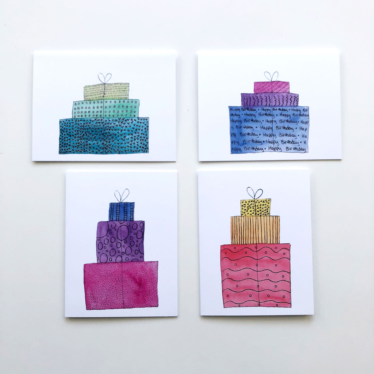 Birthday Present Greeting Cards Set of 8    Help your mom by having birthday cards on hand at all times.  $16