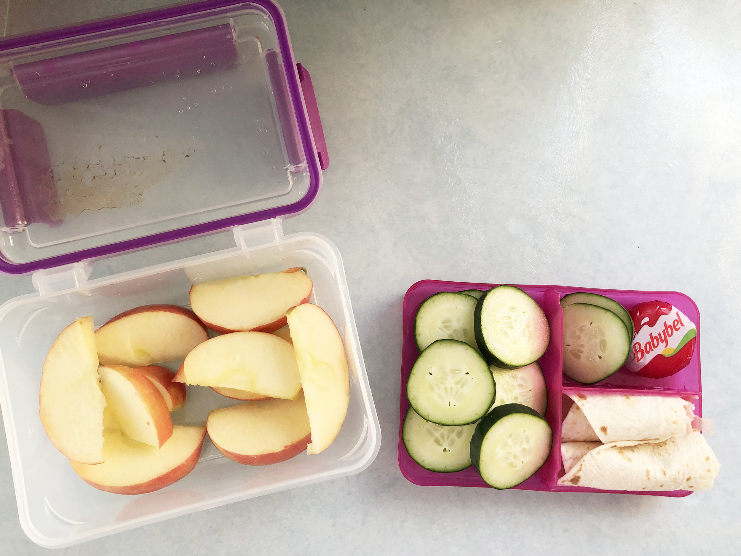 An example of my lunch: ham wrap, Baybel cheese, cucumbers, and apple slices.