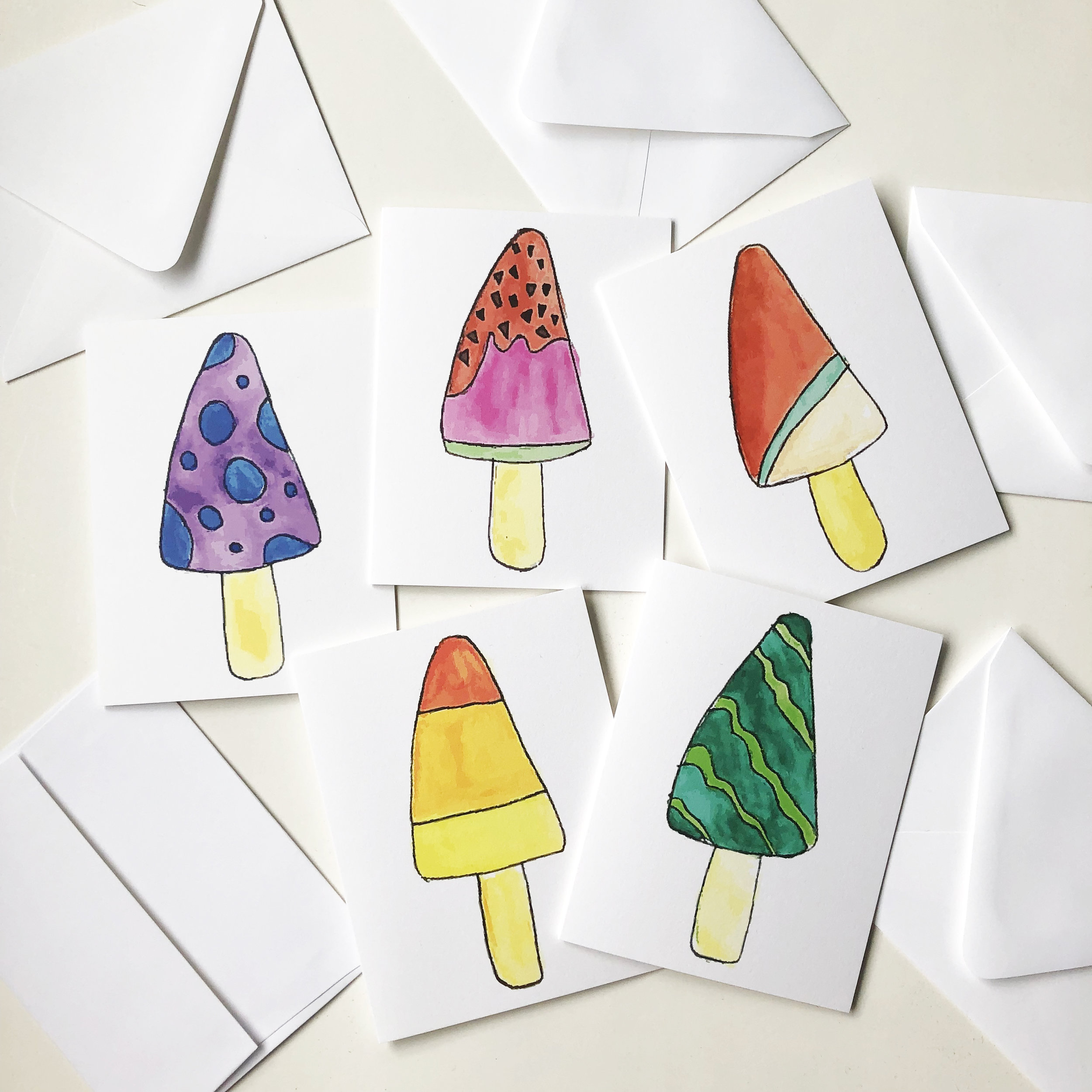 The single popsicle cards are also available in a set of 5.