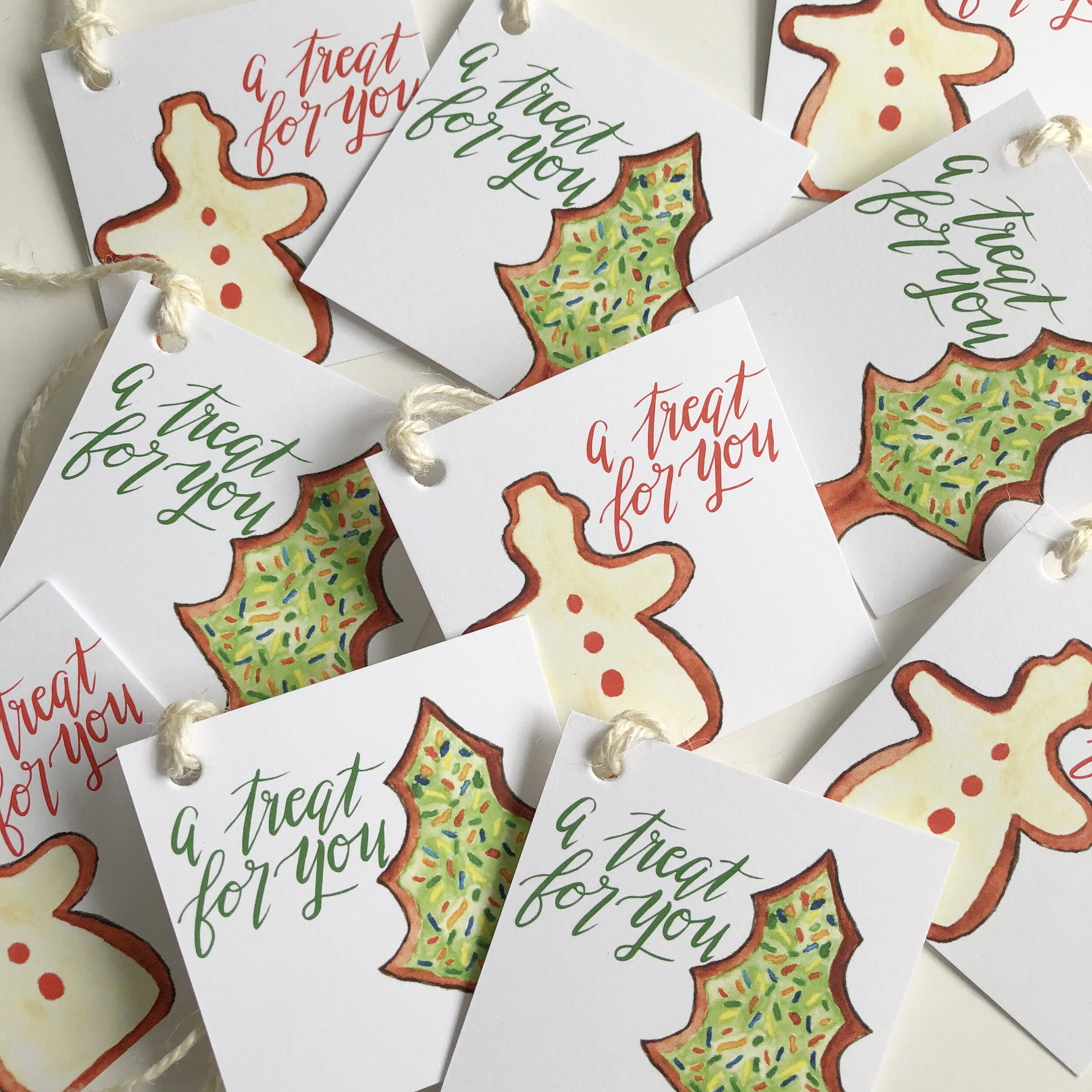 Another fun  assorted gift tag set  with Christmas trees and snowmen.