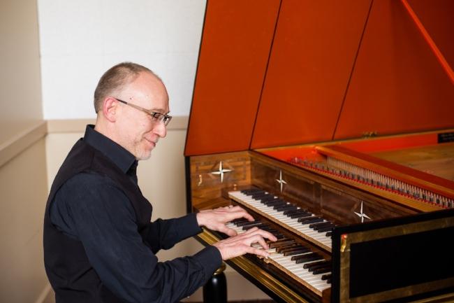 Alexander Weimann performs on the harpsichord.  Photo: Takumi Hayashi
