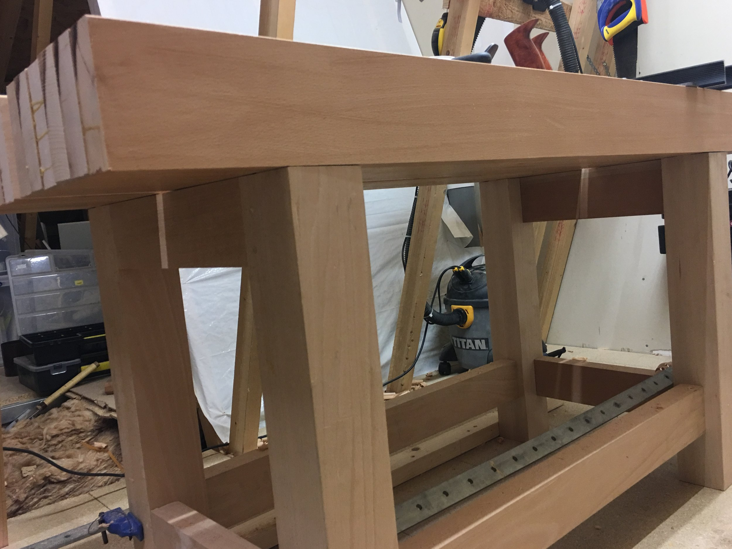 Front of the bench, still needs planed flush with the legs.