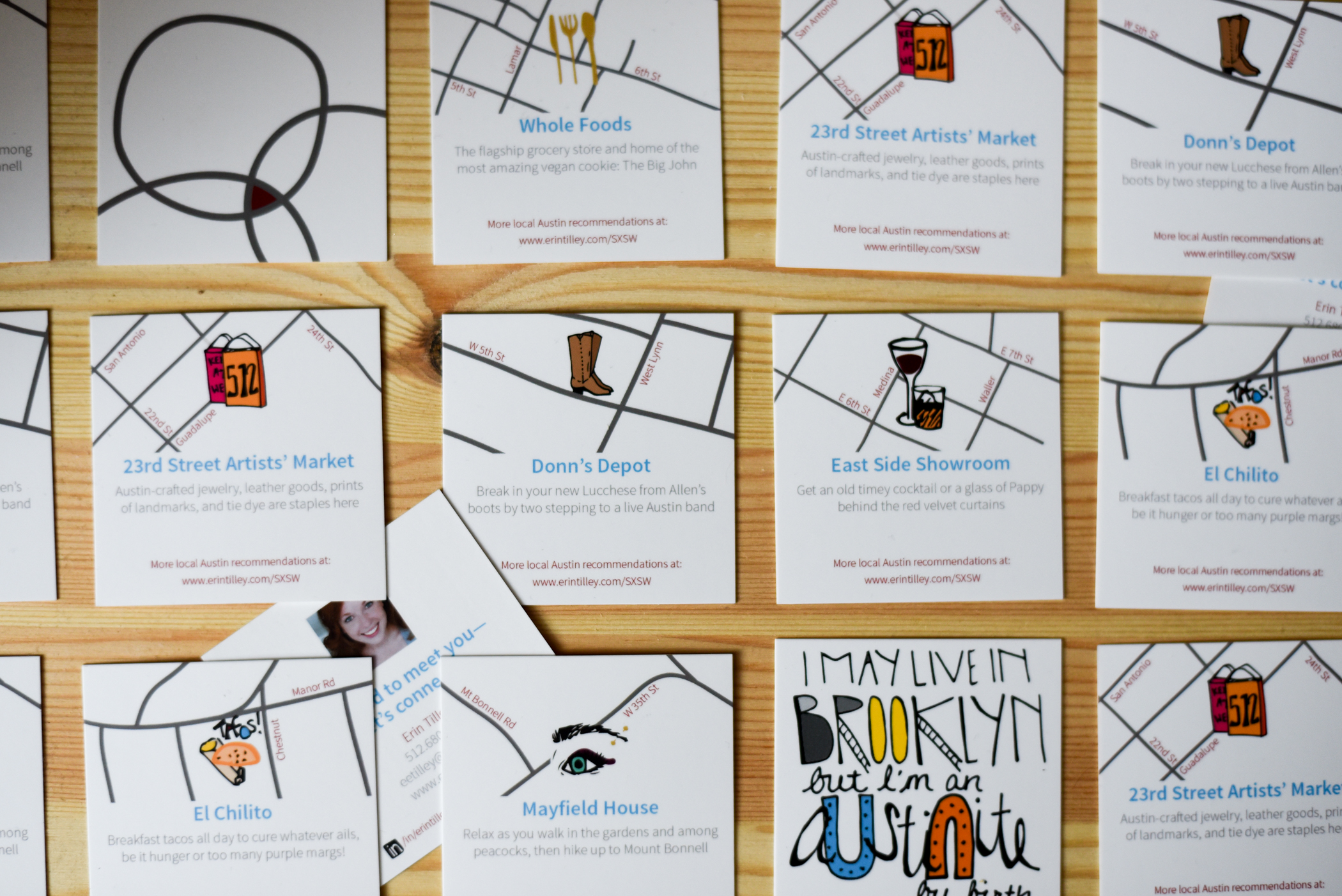 Business cards with local recommendations