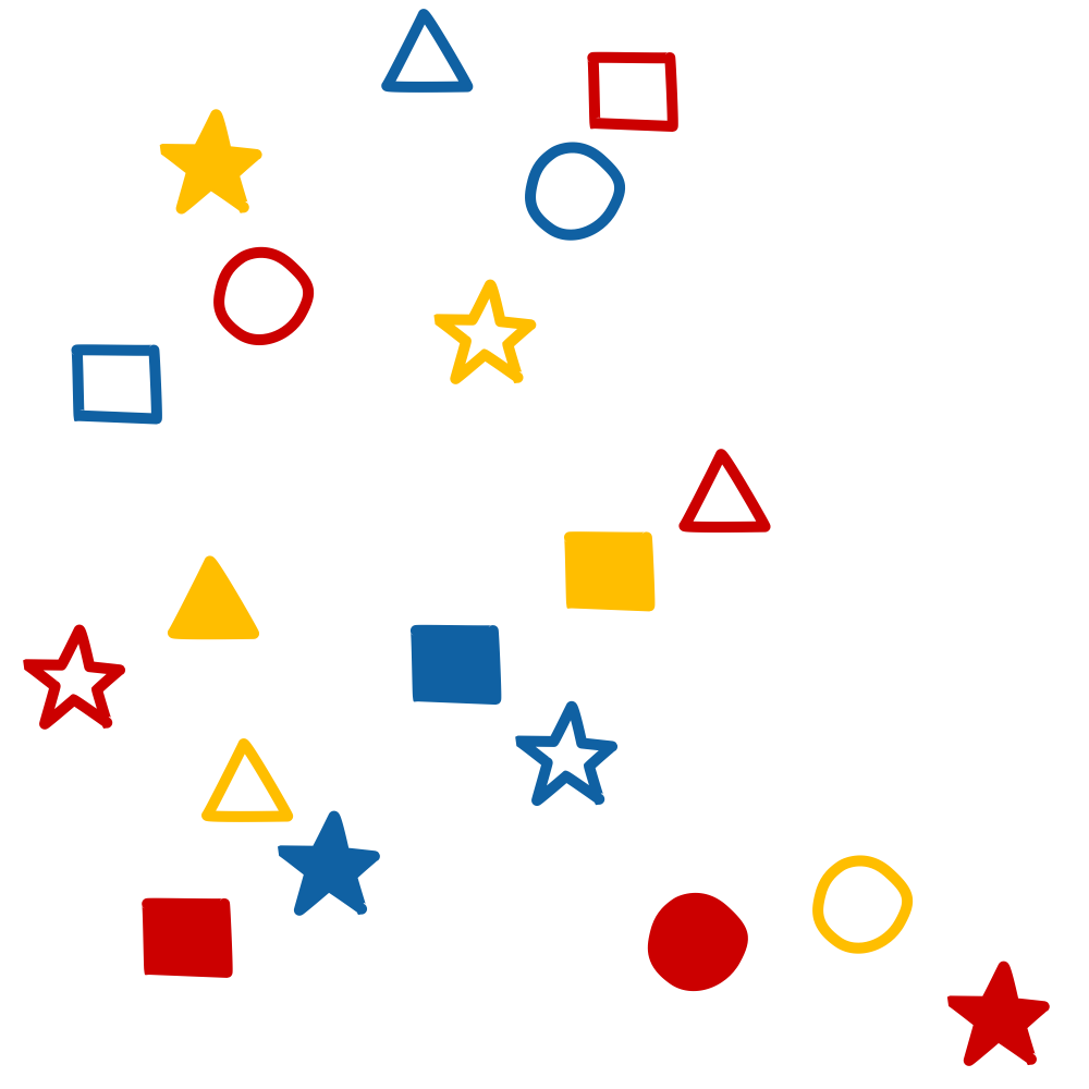 "(shape: triangle AND fill: none) OR (shape: star AND fill: (none OR solid)) OR (shape: square AND (fill: solid OR (fill: none NOT fill_color: yellow))) OR (shape: circle AND (fill: none OR (fill: solid NOT fill_color: red)))  NOT (fill: ""polka dot"" OR fill_color: green OR shape: hexagon)"