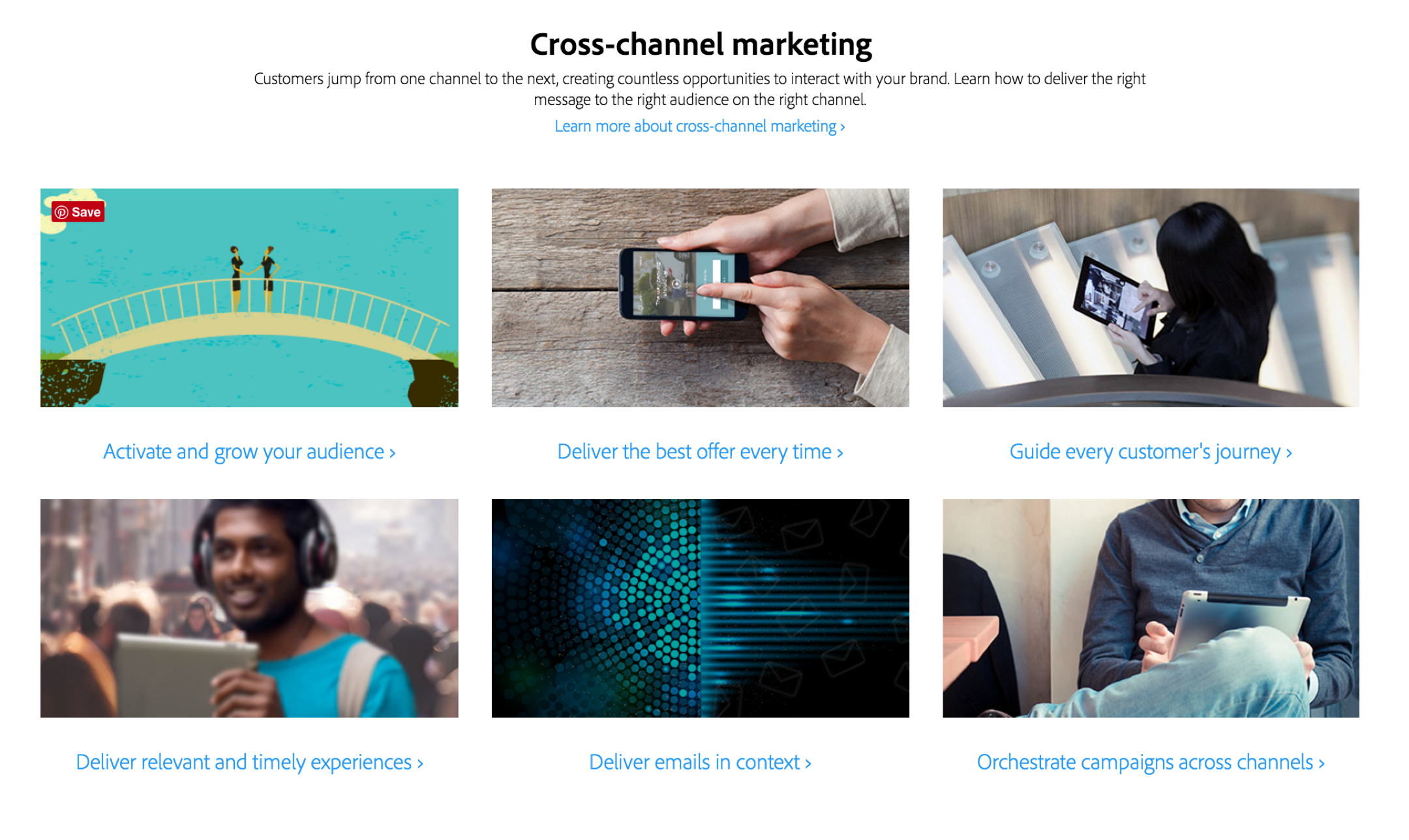 Adobe Marketing Cloud does a great job of categorizing their offerings by use case.