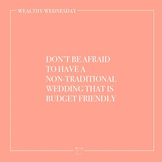Wedding Season is here and for the next few weeks I will be talking about tips for the Bride and Groom! Tag whoever needs to hear these 💕 This weeks tip: Don't be afraid to have a non-traditional Wedding that is Budget Friendly. Meet me tonight LIVE at 7pm PST or watch the replay as we talk about the tip of the week at    bit.ly/wealthywednesdays