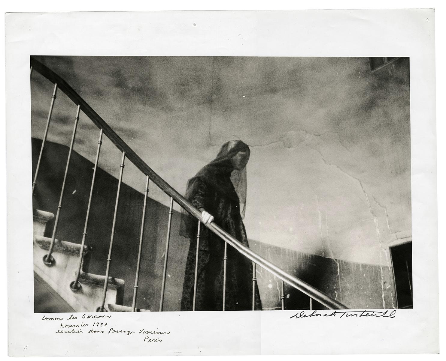 Comme des Garçons, Escalier dans Passage Vivienne, Paris, November 1980 | photograph by Deborah Turbeville