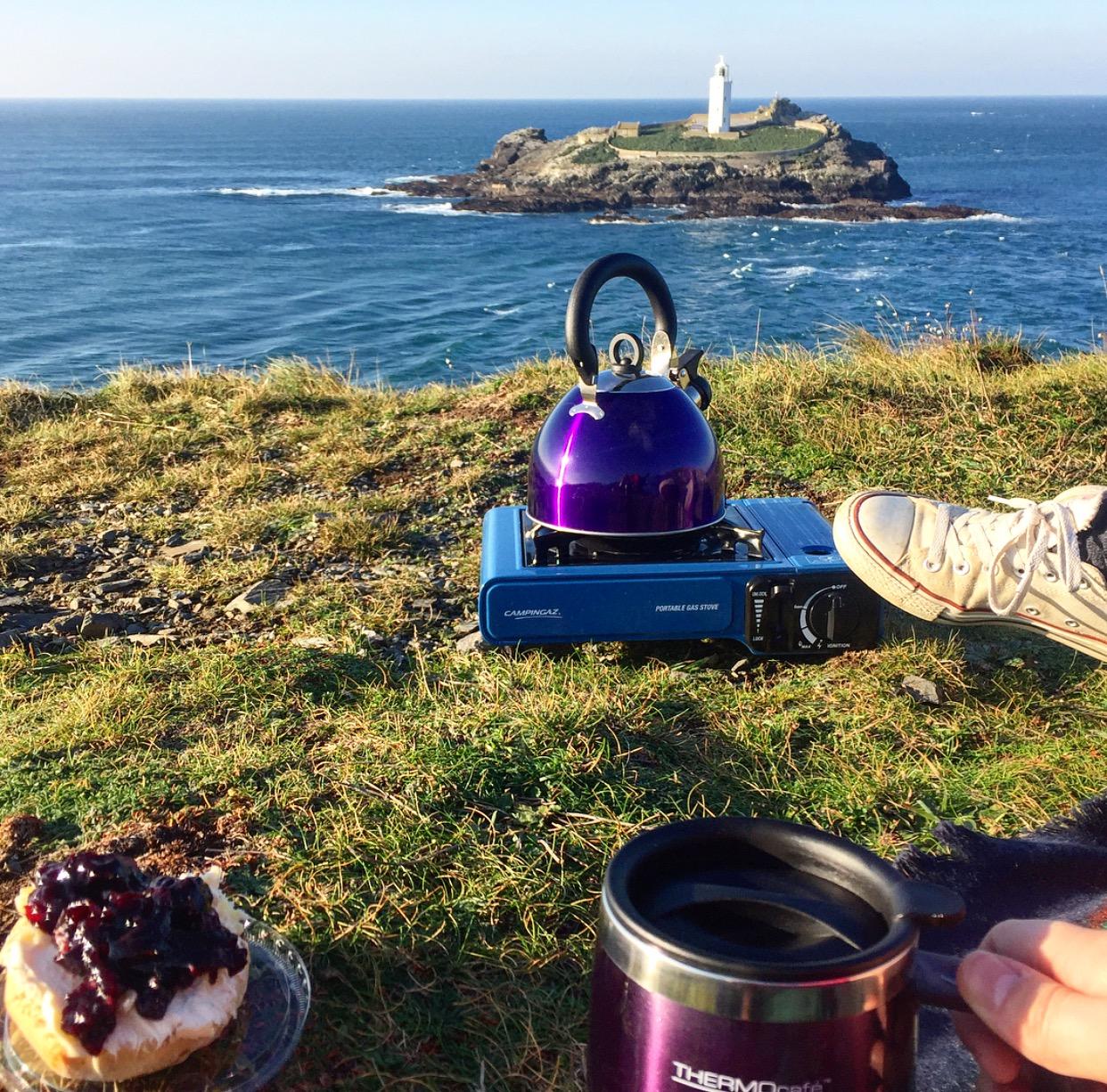 Tea and clotted cream scone with black cherry jam
