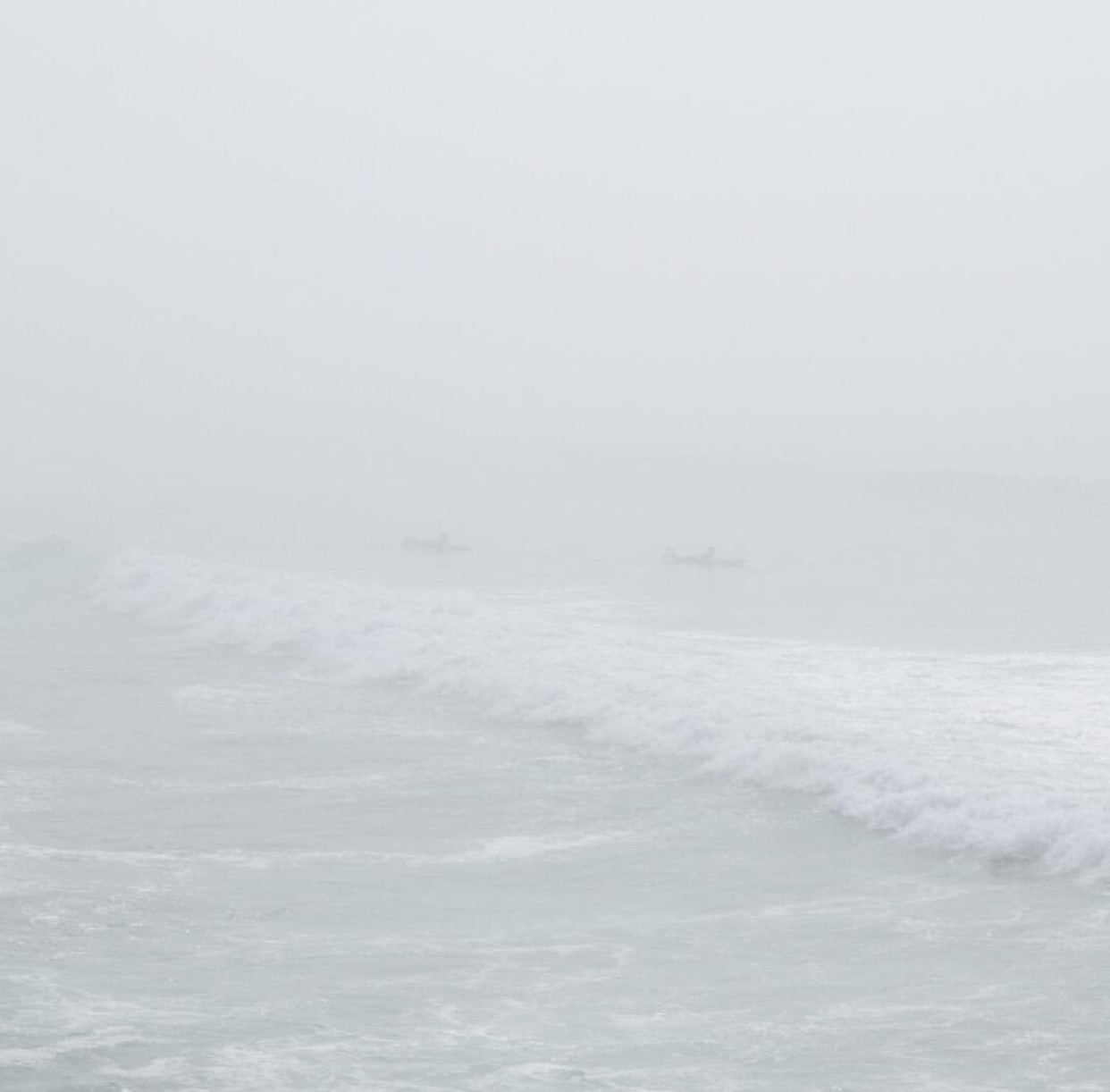 Sea mist takes the visibility down to Zero. If you look closely at this pic you can just make out two RNLI lifeguards on surfboards searching for swimmers.