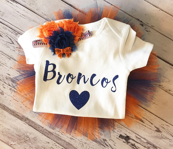 Adorable Broncos tutu set for a baby shower gift in Colorado.