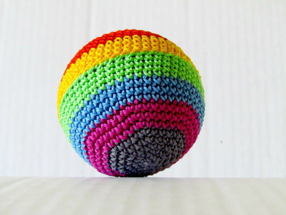 Handmade crocheted ball for a baby shower gift from Denver, Co.