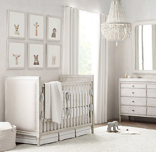 A beautiful, bright, and neutral nursery from Restoration Hardware from a Nursery Inspiration blog post from Kristiina Craven Photography in Denver, Colorado.