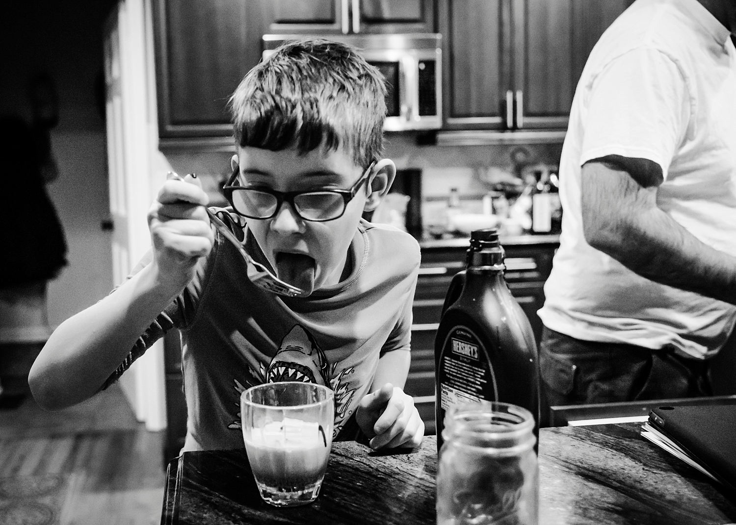 Townes is making homemade chocolate milk after swim lessons on the Week in the Life of an Unschooler #2. | GettingUnschooled.com | #unschool #homeschool #deschool