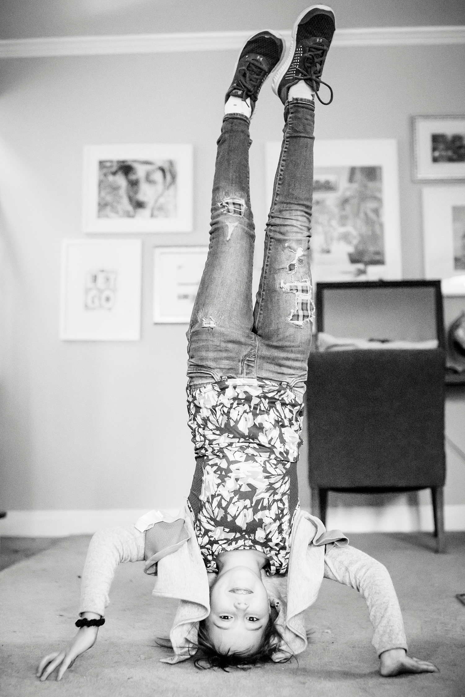 Kate takes lots of dance classes now that she's being homeschooled and here she practices her headstand. | GettingUnschooled.com | #homeschool #unschool