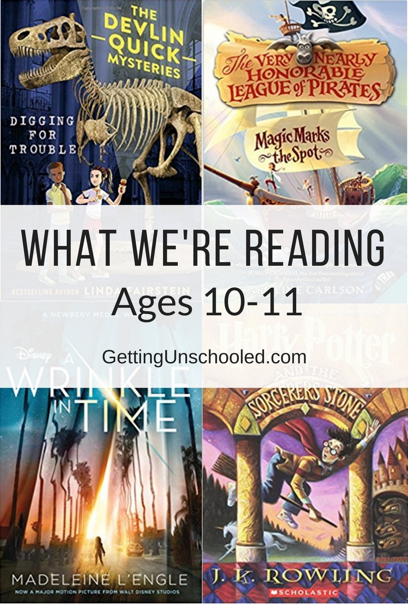 Books my 10 and 11-year-old kids have been reading for homeschool.   GettingUnschooled.com   #unschool #homeschool