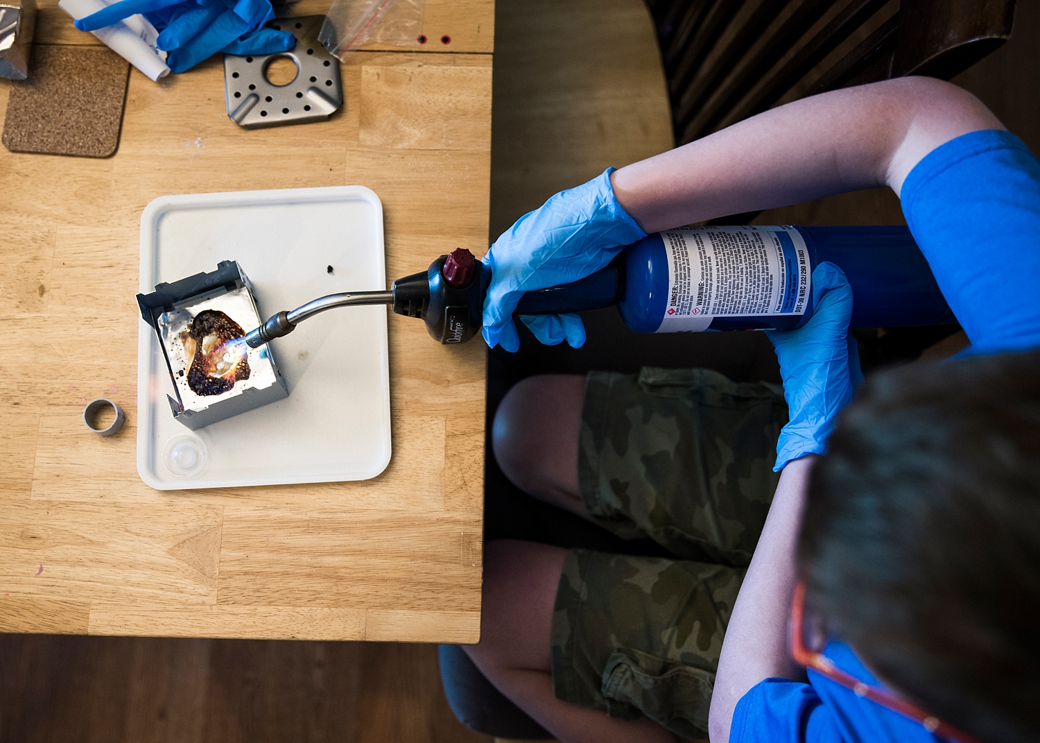 Why homeschool your kid? So that when they ask to use the blow torch to do an experiment you can watch how much fun they have!
