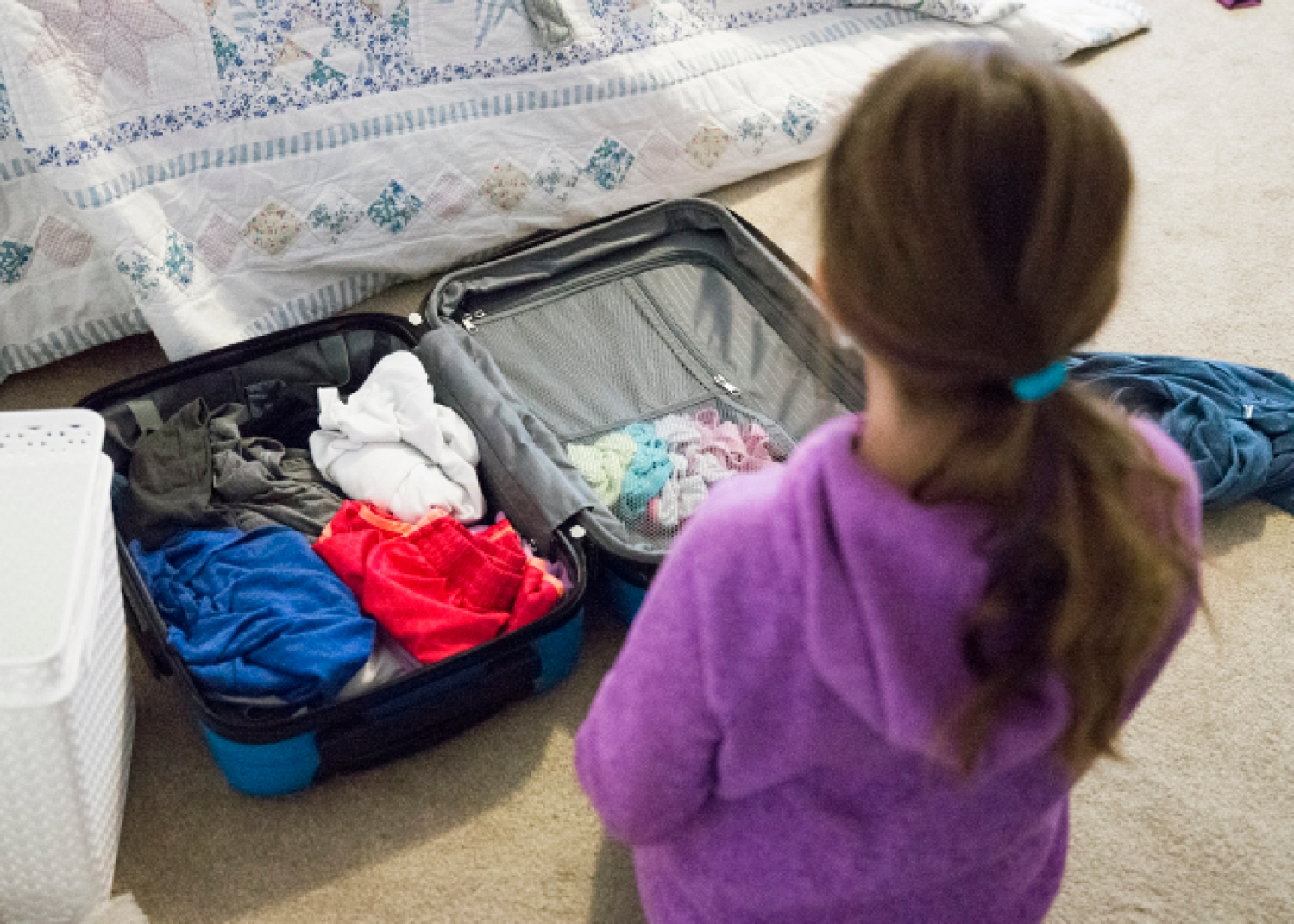 These roomy, yet lightweight hard case rolling suitcases are the best for kids because they have several zippered compartments for their underwear and socks, etc.  This was the first trip both of my kids packed themselves and it went so well.  (I gave them a list of what to pack).  #amazonbasics #kidssuitcase