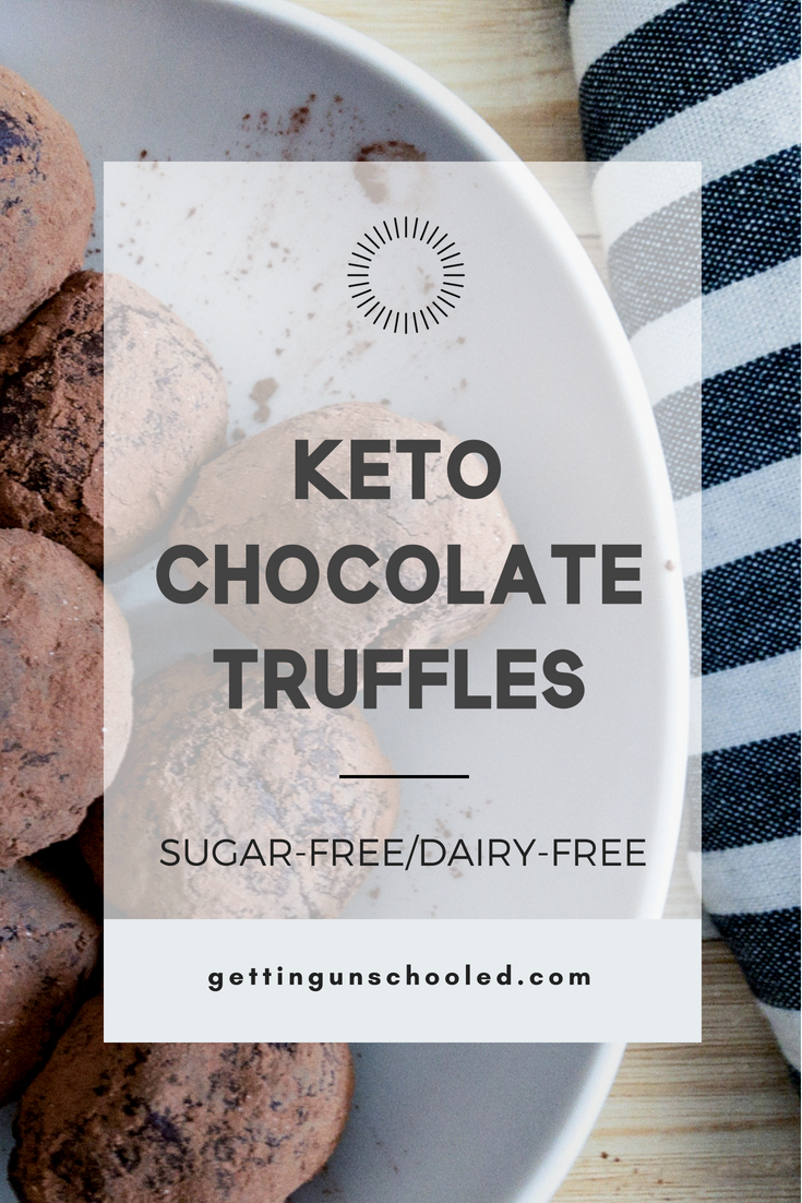 Keto chocolate truffles--two ways!  Coconut cream can be replaced with smashed avocado to make a smooth and healthy chocolate truffle!  Only three ingredients and sugar-free! | Getting Unschooled | #ketodiet #lowcarb #paleo #ketodesserts