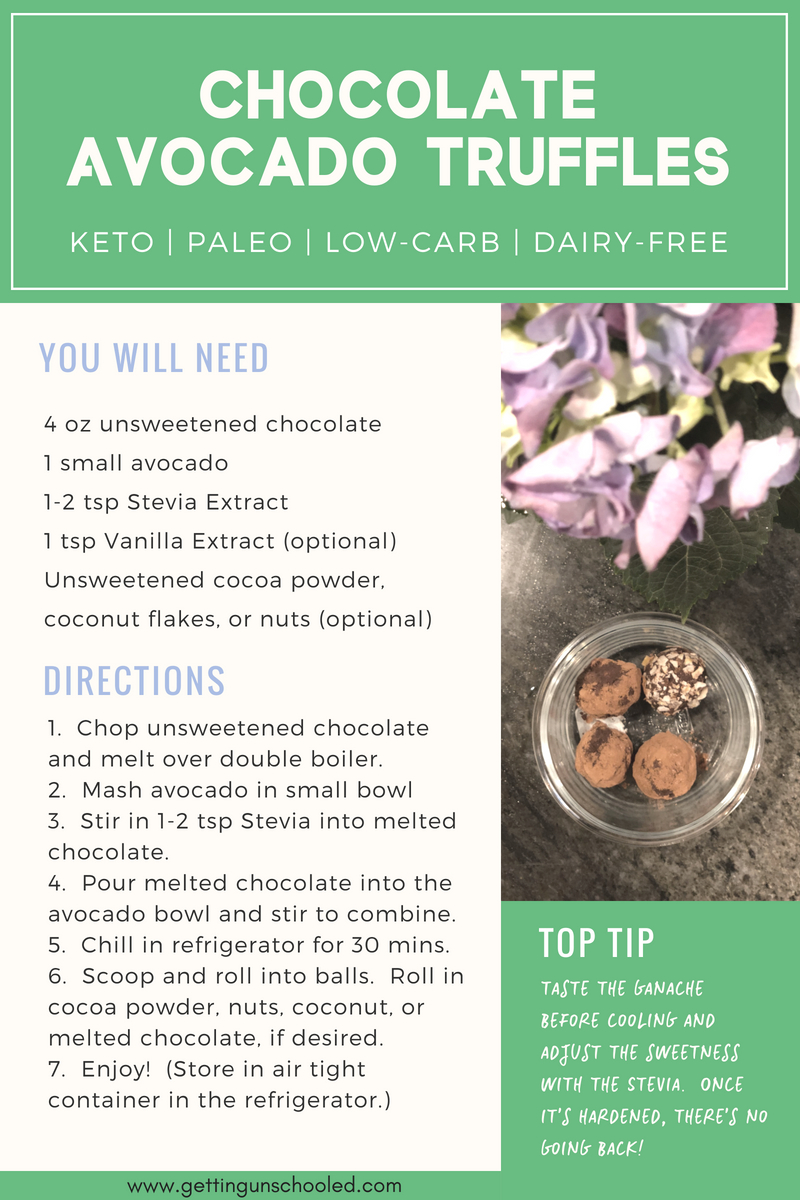 Looking for a fat bomb that will also satisfy your sweet tooth?  These Keto Chocolate Truffles will do the trick!  They only have three ingredients and so easy to make! | Getting Unschooled | #keto #ketodiet #fatbombs #lowcarb #paleo #dairyfree