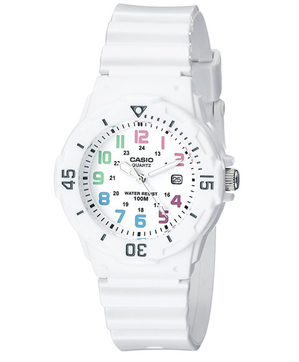 I am kind of obsessed with this watch--it's so bright, fun, and summer-y. Our 11-year-old is going to love it for her birthday!