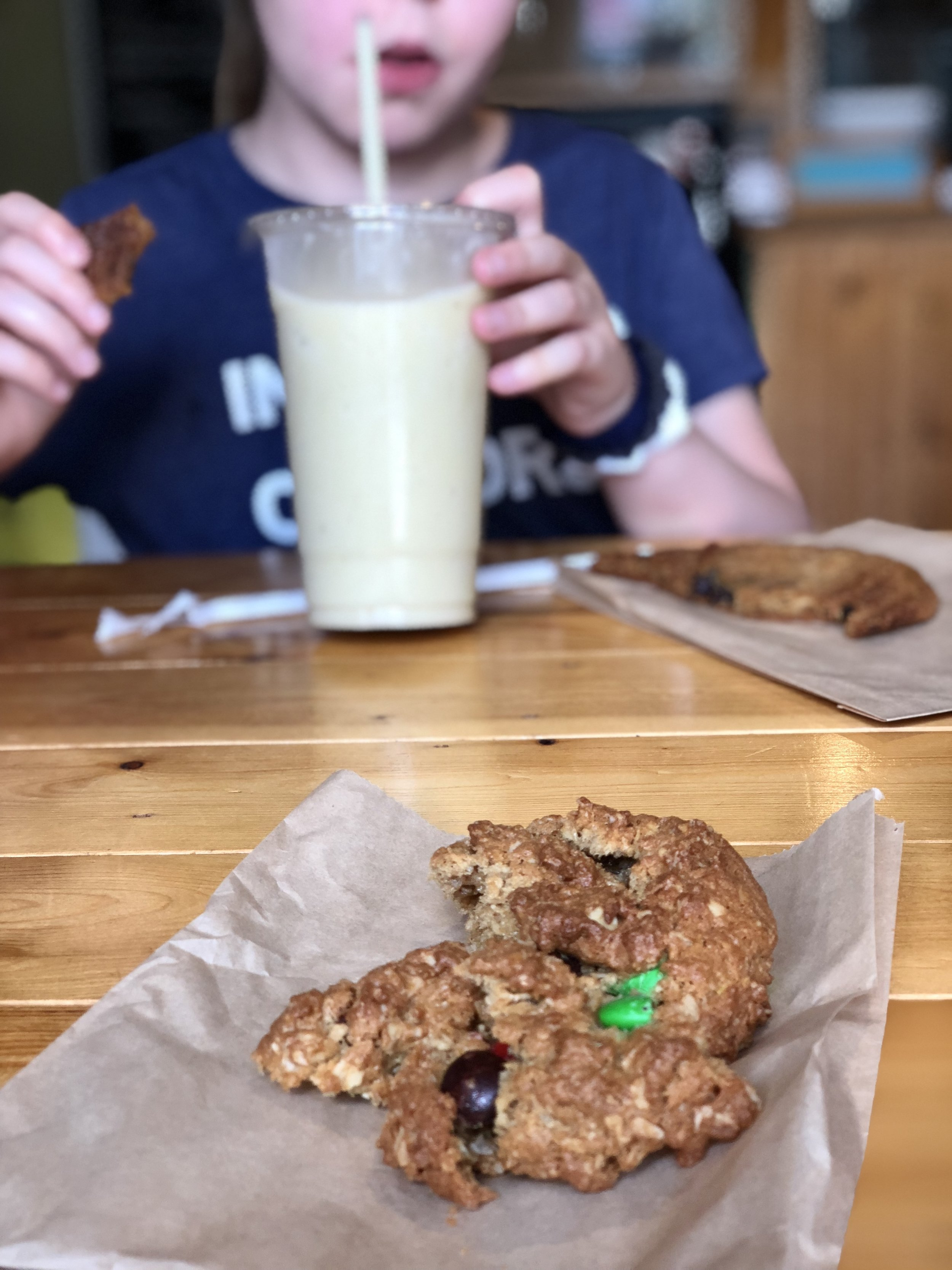 Pre-smoothie spill at Numinous Coffee Roasters where Kate had a regular chocolate chip cookie and I had a gluten-free kitchen sink cookie.  Such a fun new place to visit while we're in Marble Falls, TX.