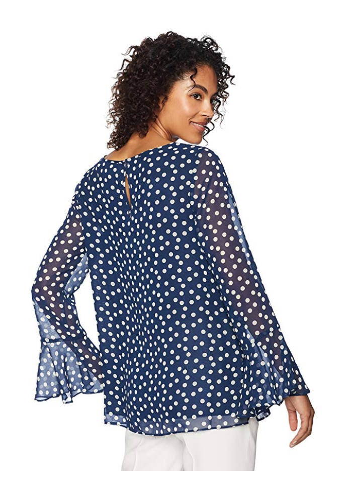 Lark & Ro from the Amazon Fashion private label line has lots of feminine pieces with feminine touches like this blue and white polka dot blouse.  #amazonwomenclothing