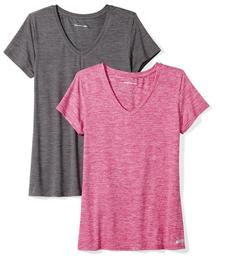 Workout clothes is an area that Amazon didn't neglect in their private label fashion lines.  This 2-pack from their Amazon Essentials line is only $18!  #amazonwomenclothing