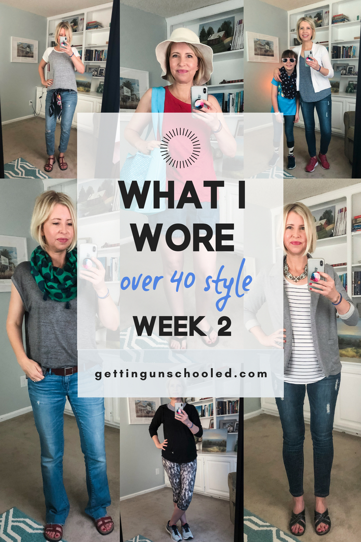 Here's my 2nd week of what I wore last week--outfits from this mom in her 40s. Figuring out how to look 'stylish' while running around as a stay at home mom can feel like the last thing on my to-do list, but it is so important to invest some time and effort into your morning. I swear it sets the tone for a great day!! :)