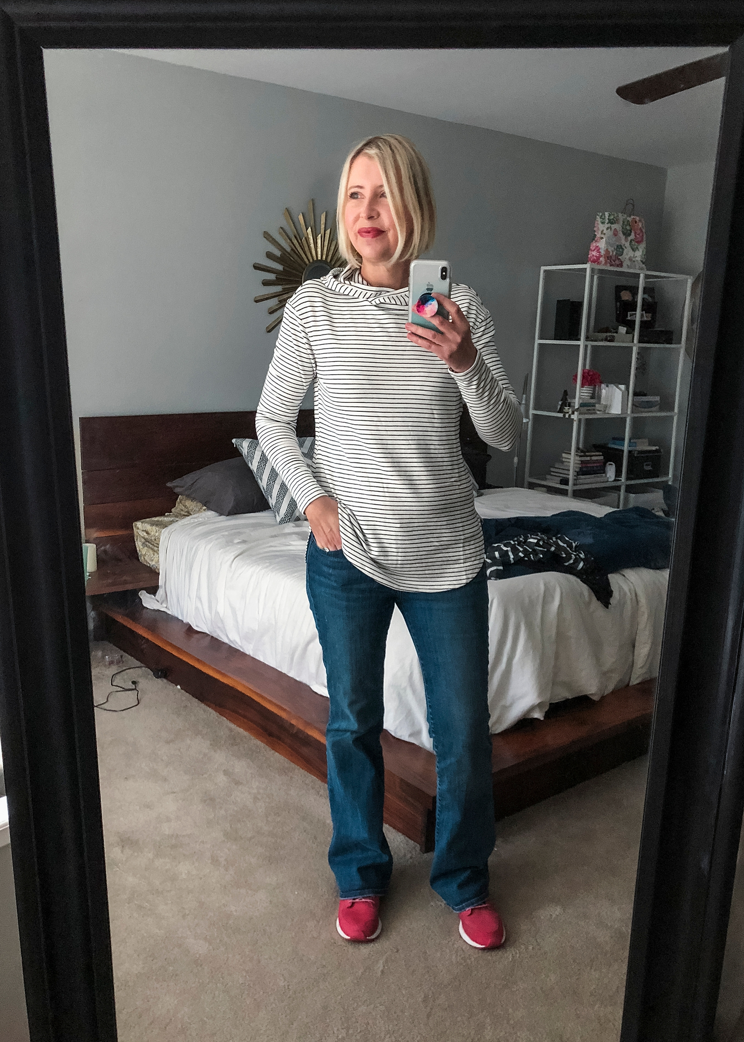 This is a super soft striped hooded sweatshirt from Daily Ritual via Amazon Prime Wardrobe almost stayed home with me, but it was a little too small.