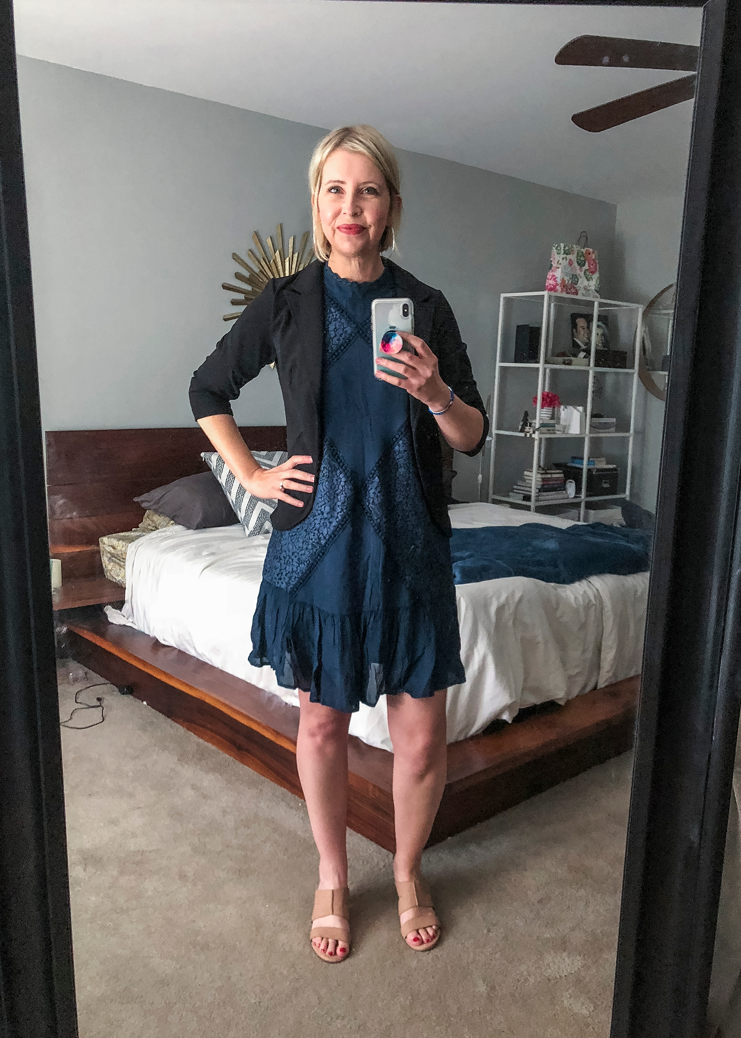 This is a black and navy lace sleeveless dress from Ella Moon in my Amazon Prime Wardrobe box.