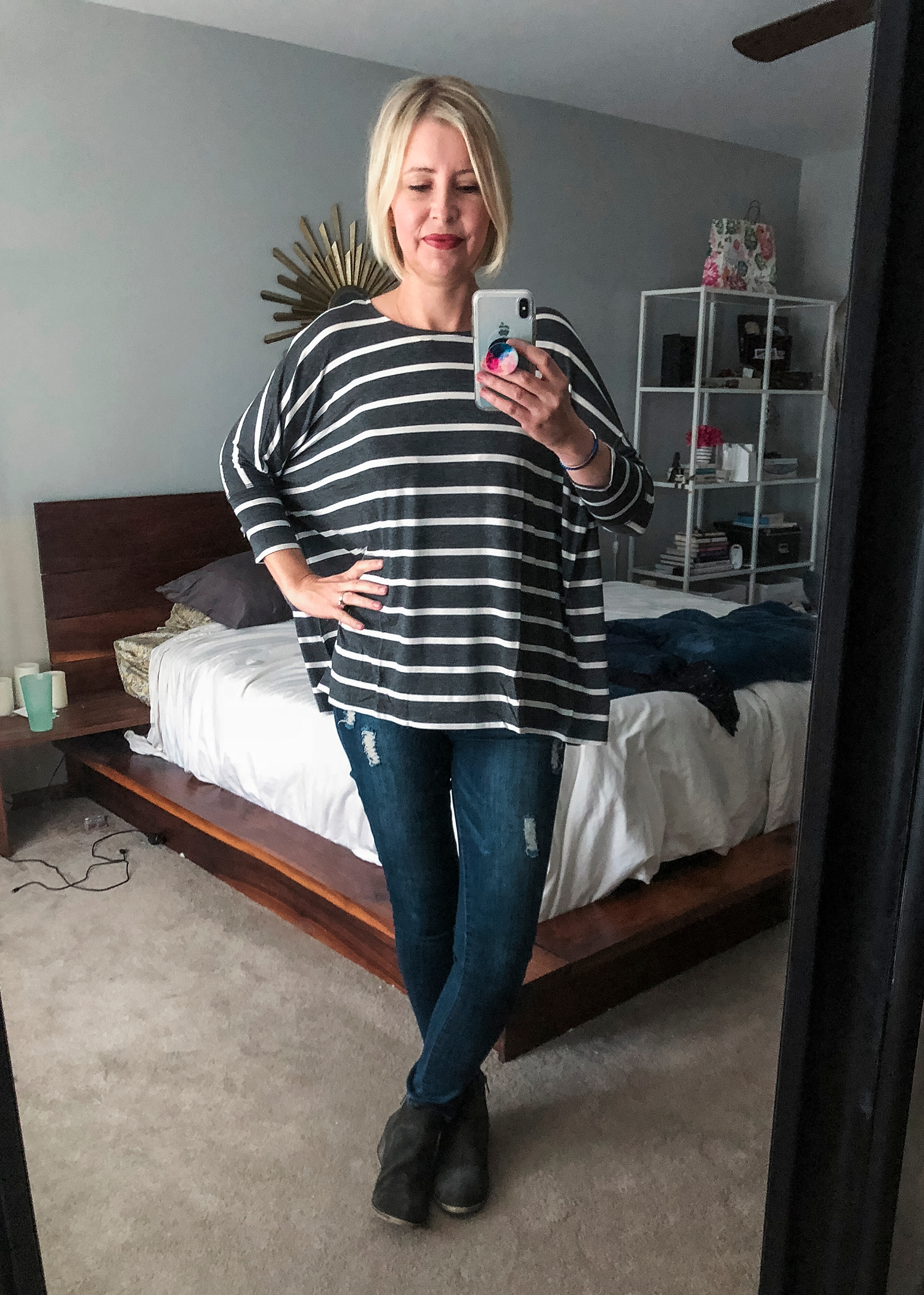Cute fall transition top from James and Erin through Amazon Prime Wardrobe box!  I love a strong stripe and this is the perfect wardrobe for this over 40 mom :)