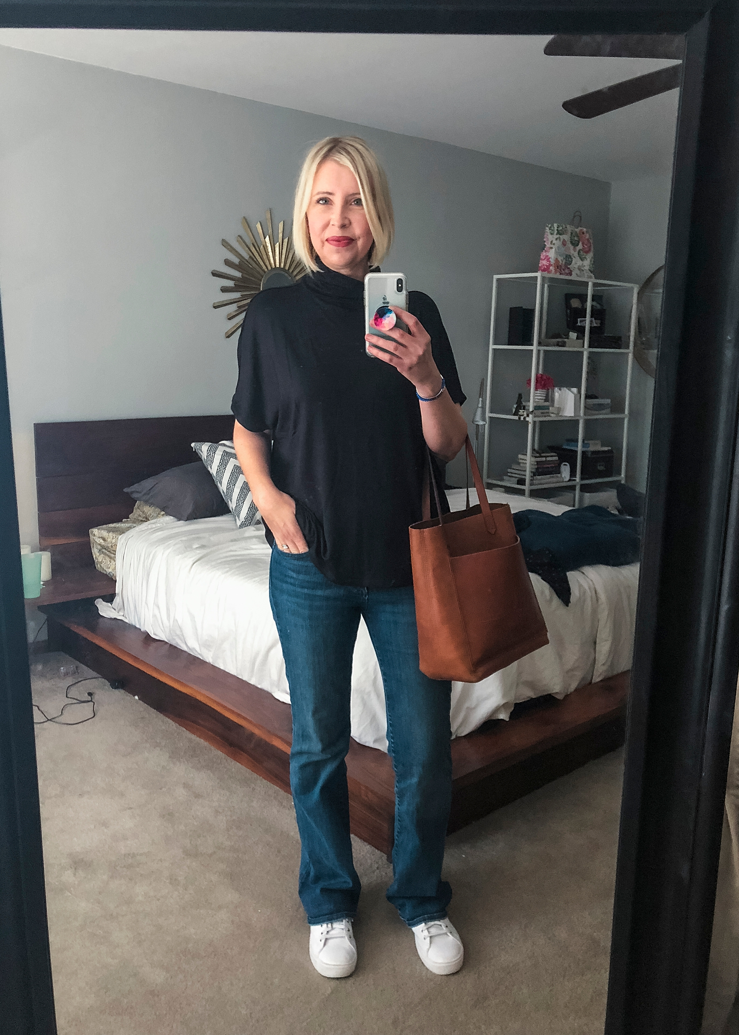 This slouchy black t-shirt from Daily Ritual in my Amazon Prime Wardrobe box was a keeper!  So cute as a Fall transition piece...