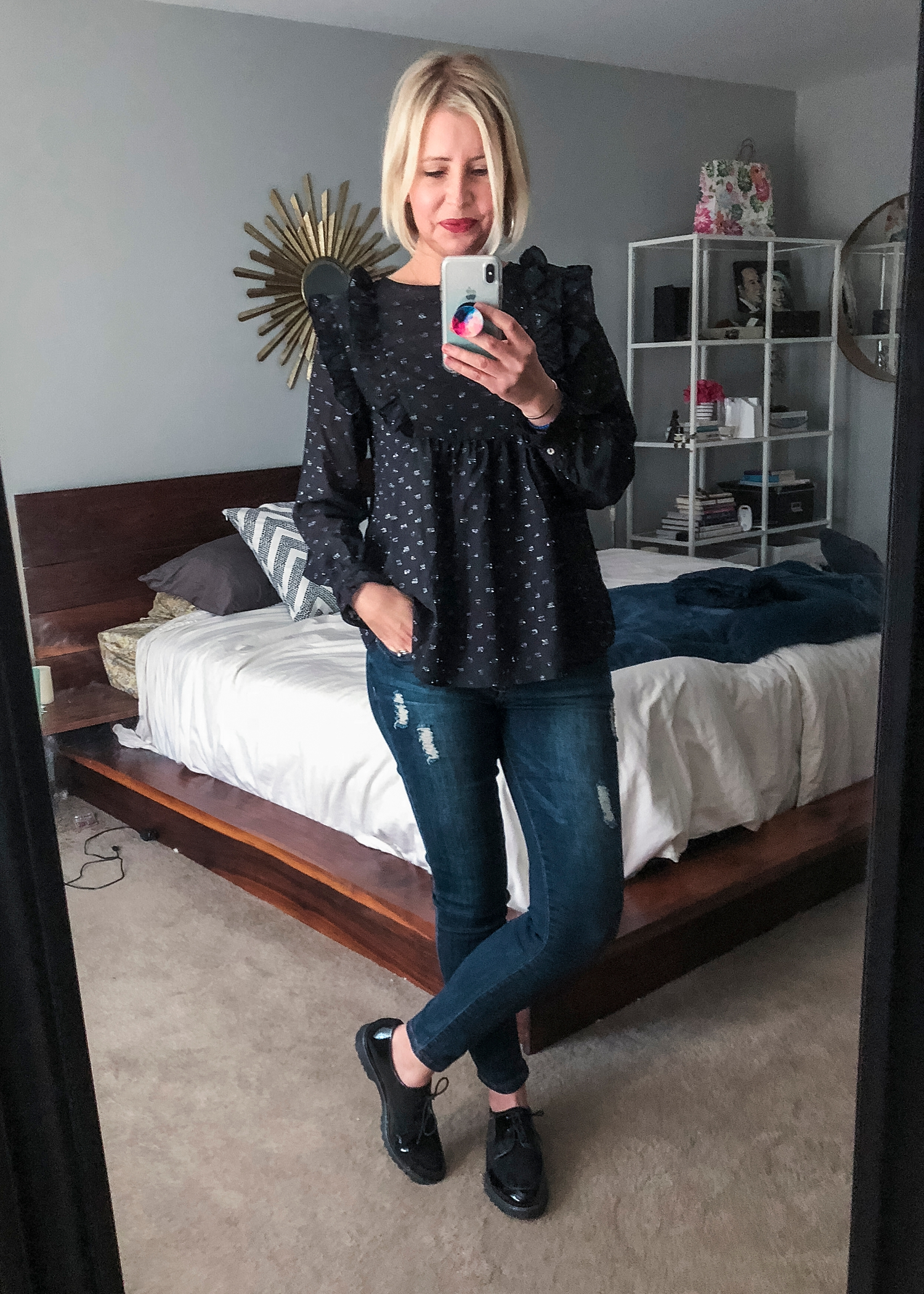 This black ruffled dot long sleeve top from Ella Moon looked so cute in the photo, but I ended up returning it in my Amazon Prime Wardrobe box.