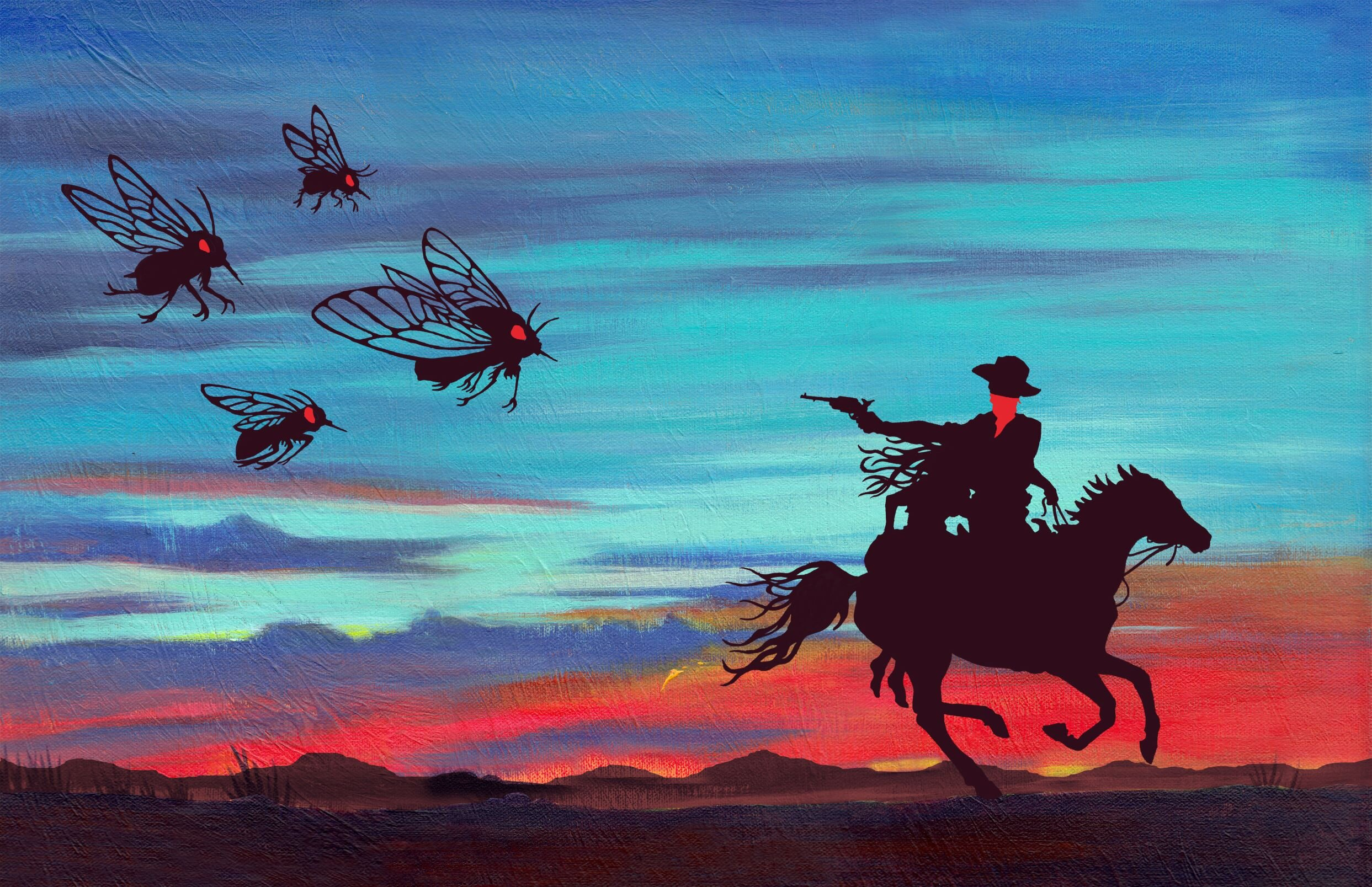 The Cowboy and the Cicadas - artwork by Kristen Ross