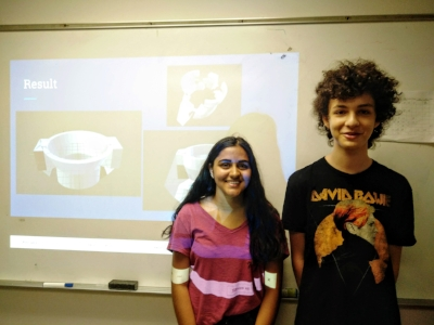 Yashwi Kumar (John P. Stevens High School)and Asher Jaffe (Hunter College High School) gave a talk on their 3D printed head stage designs