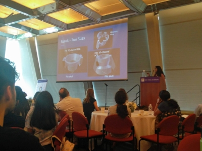 Yashwi presenting her designs at the NYU Courant Institute GSTEM event