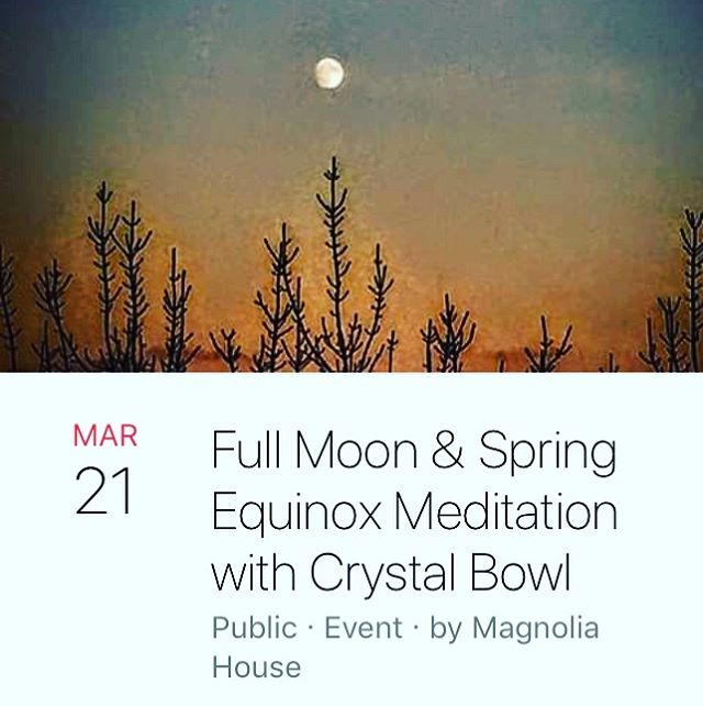 Can. Not. WAIT!!!! This is going to be ecstatic. Full moon and welcoming in Spring!! My cells are already dancing in anticipation for Venus's crystal sound bath!!!