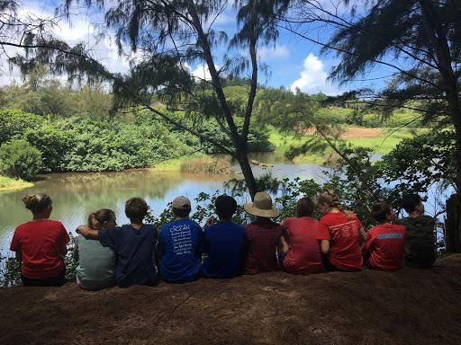 Students from Island School doing observations at HILT's Kahili Preserve, Kaua'i