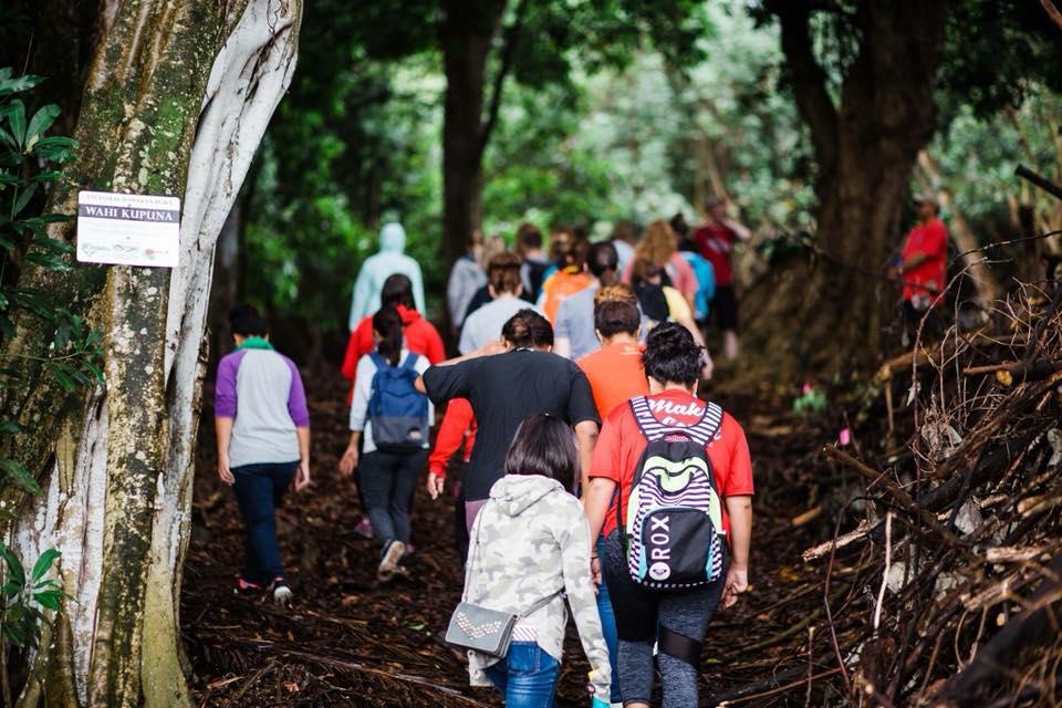 Students at Maunawila Heiau