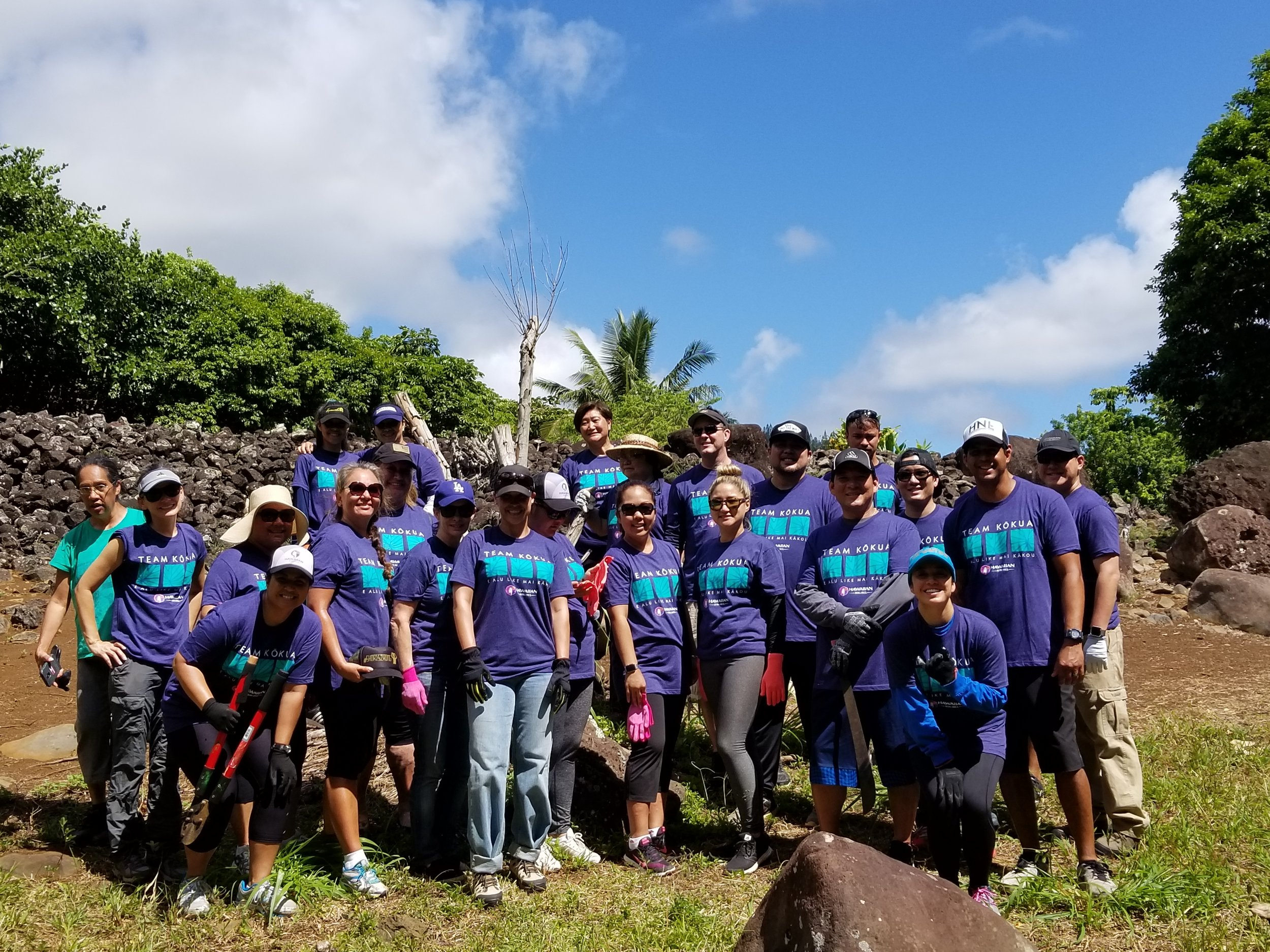 Team Kokua  from Hawaiian Airlines at Maunawila Heiau, O'ahu
