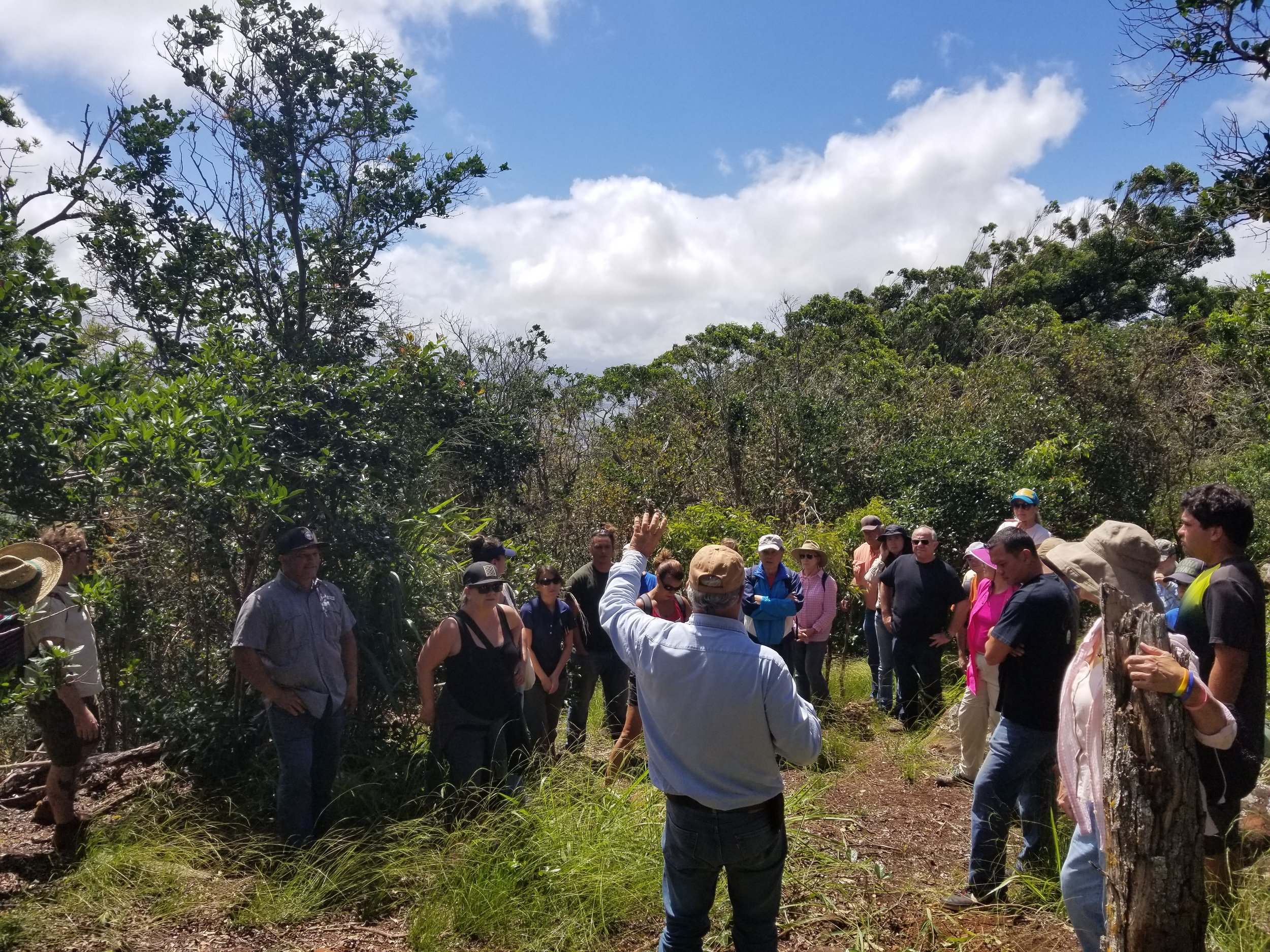 HILT Board Member McD Philpotts shares about conservation efforts with landowners at Palehua Ranch, Honouliuli, O'ahu.