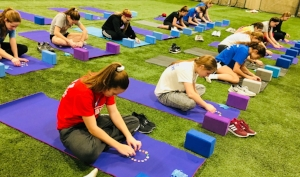 A mindfulness activity in our Yoga for Athletes session