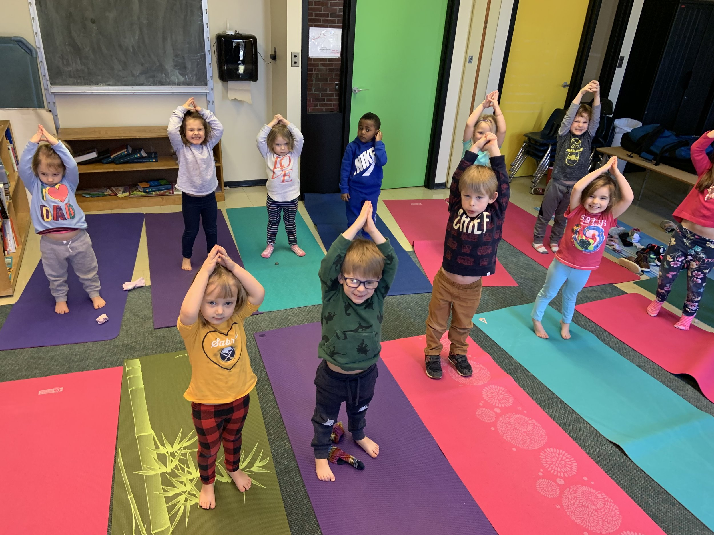 Yoga for Preschools . The happiest, tallest mountains!