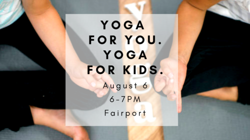 Tuesday, 8/6.  Adult yoga + kids yoga. Same time, separate classes!   SIGN UP HERE  .
