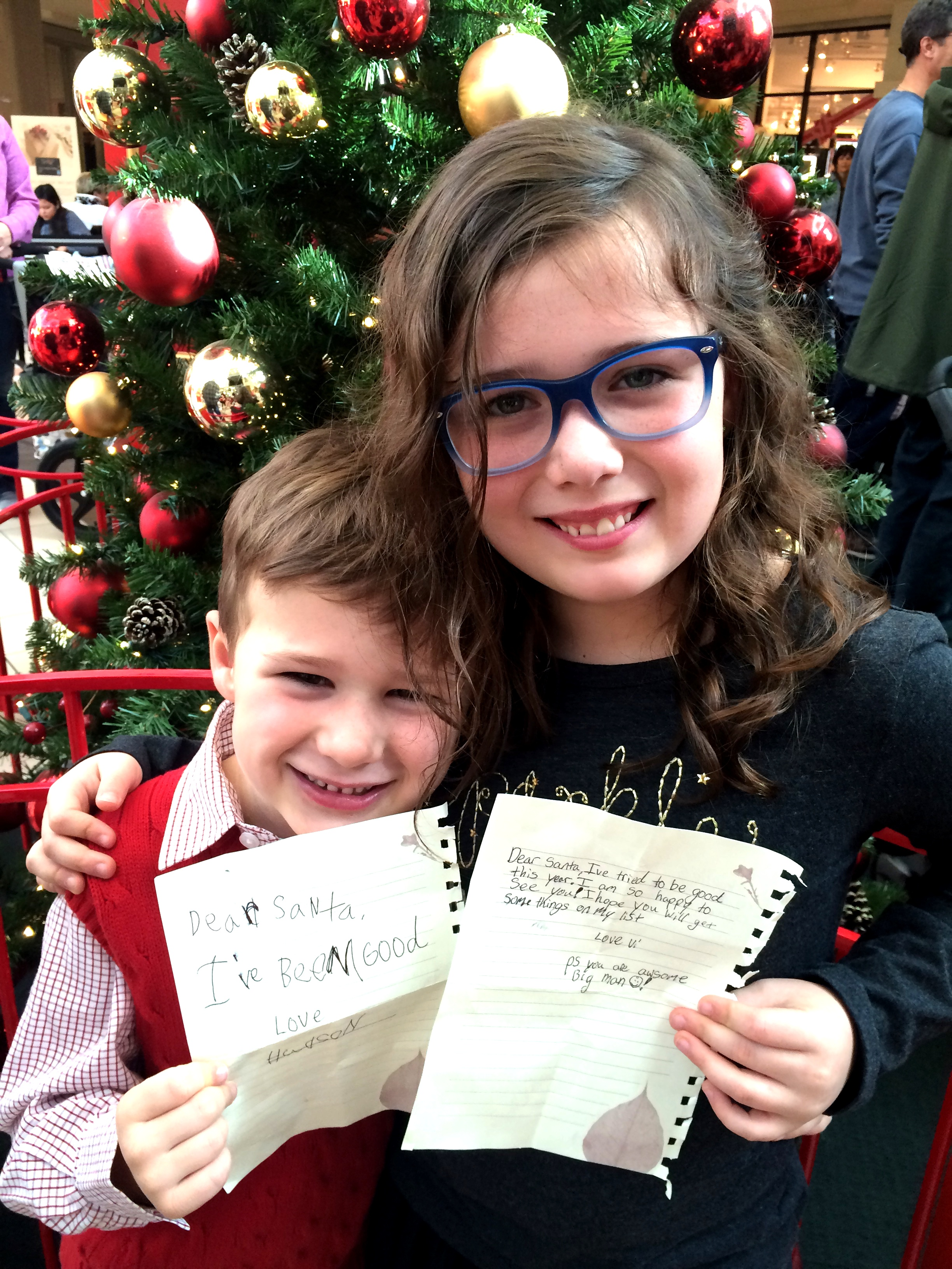Patiently waiting in line with their lists to see Santa!