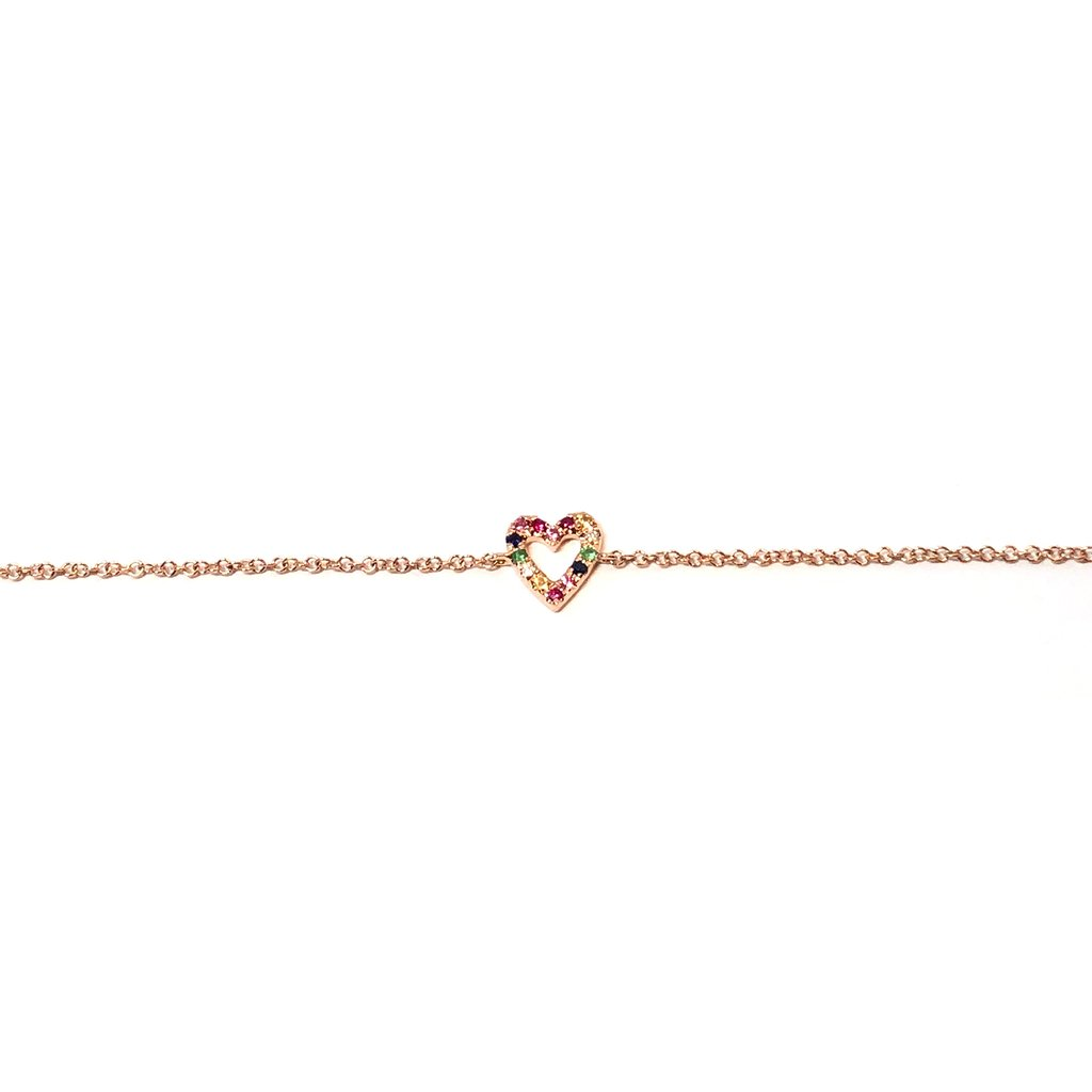 Rainbow Open Heart Chain Bracelet