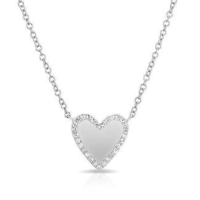 Diamond Trimmed Heart Necklace